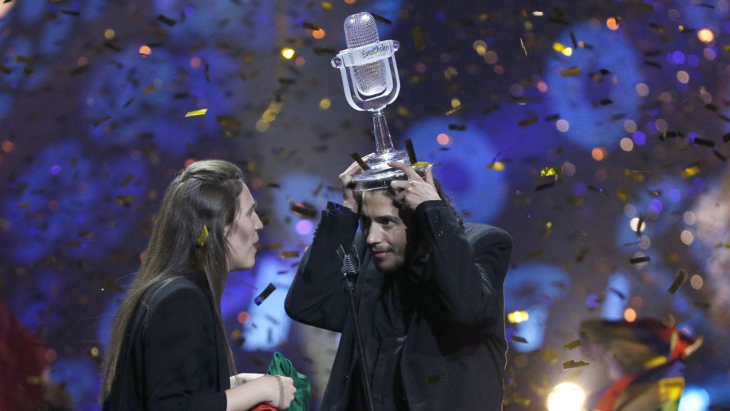 Salvador Sobral winning Eurovision Song Contest 2017 for Portugal
