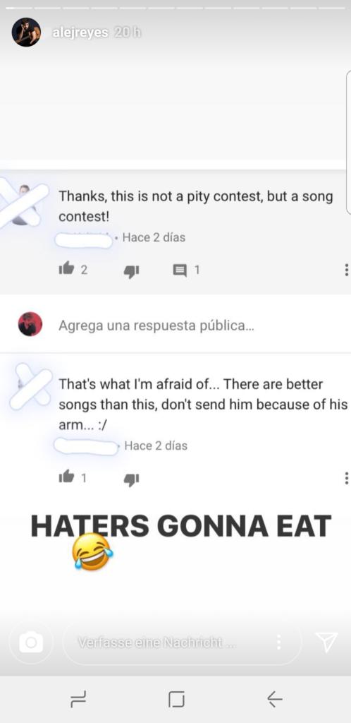 Alejandro Reyes Cyber Bullying Eurovision 2018