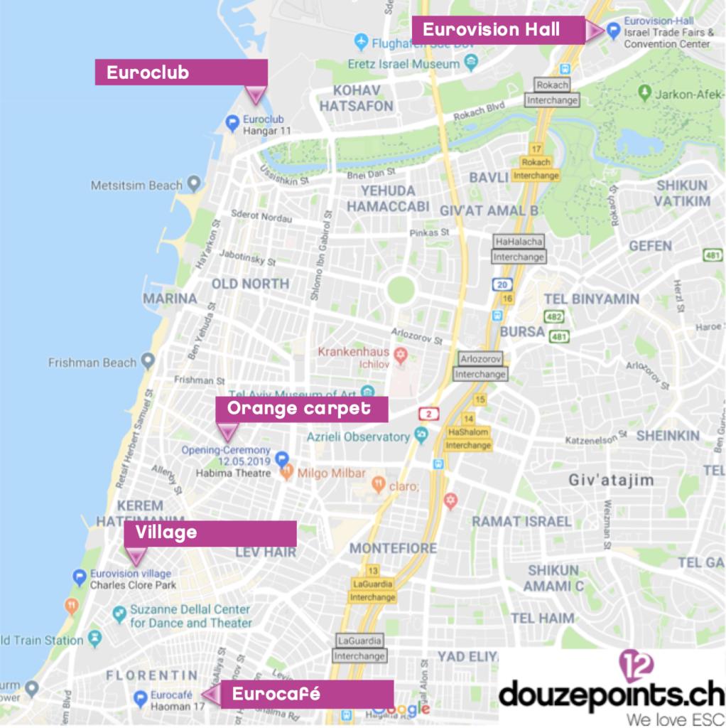 Locations Eurovision Song Contest 2019 Tel Aviv Haoman 17 Hangar 11 Eurocafé Eurovision Village Euroclub Habima Google Map