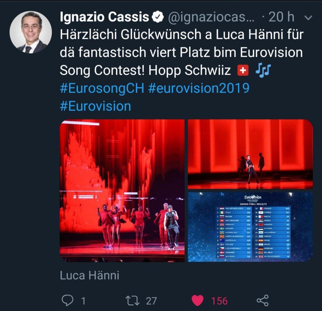 Bundesrat Ignazio Cassis gratuliert Luca Hänni Eurovision Song Contest Tel Aviv